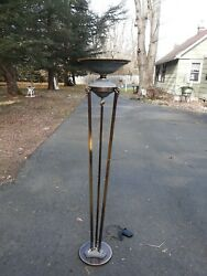 Stunning Large Neoclassical Bronze Torchere Floor Lamp Rams Head Antique Style