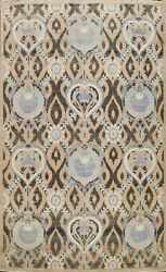 Geometric Art And Crafts Khoy Oriental Area Rug Hand-knotted Wool Carpet 9'x12'