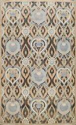 Geometric Art And Crafts Khoy Oriental Area Rug Hand-knotted Wool Carpet 9and039x12and039