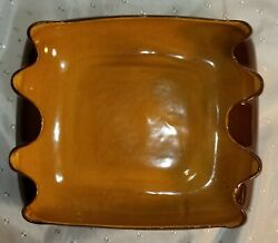 Vtg Red Wing Art Pottery 1406 Brown Gold Scalloped Edges Mn Usa Free Shipping