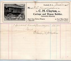 1905 Freehold Nj Ch Clayton Carriage And Wagon Builder Automobile Repair Billhead