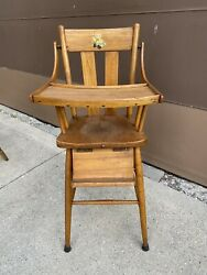 Adorable Antique Vintage Wooden Baby Feeding High Chair Swing Tray Doll Cartoon