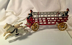 Vintage Cast Iron Two Horse Drawn Hook And Ladder 2 Man Fire Wagon Toy