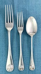 Williamsburg Shell By Kirk Stieff Sterling Silver Forks And Spoon 3 Pcs Sample