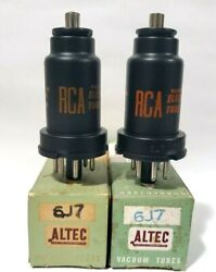 2 Matching Rare Altec Rca 6j7 Vacuum Tubes Tested New On Calibrated Hickok