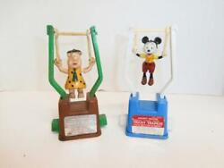Pair Vintage Tricky Trapeze Toys, Mickey Mouse And Fred Flintstone
