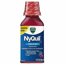 Vicks Nyquil Cold And Flu Powerful Nighttime Relief Cherry 12 Fl Oz 36 Pack