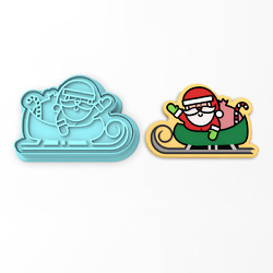 Santaand039s Sleigh Cookie Cutter And Stamp | Holiday Xmas Christmas Claus Reindeer
