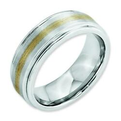 Cobalt 14k Gold Inlay Satin And Polished 8mm Wedding Band Ring Jewelry Size