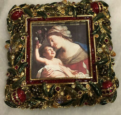 Jay Strongwater Frame Holiday Nwot Christmas Ornaments Tree Holly Bejeweled Red