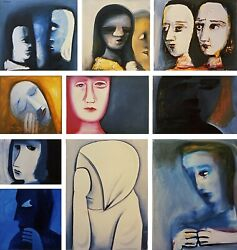 Charles Blackman Divided Painting Large Signed Limited Edition Print 98 X 92cm