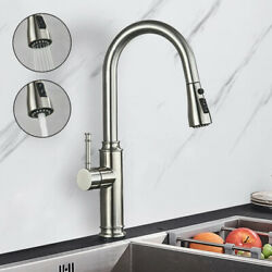 Kitchen Faucet Pull Down Commercial Single Hole Stainless Steel Swivel Mixer Tap