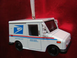 New Usps Postal Delivery Mini Truck White Christmas Tree Ornament