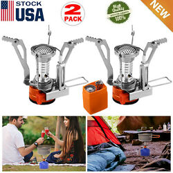 2 Portable Camping Stoves Backpacking Stove with Piezo Ignition Adjustable Valve $13.59