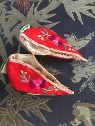 Tiniest Pair Of Chinese Lotus/bound Feet Shoes Possibly Altar Shoes Rare