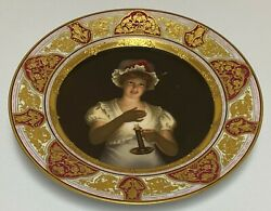 Royal Vienna Porcelain Cabinet Plate 19thc Lissette Girl W/ Candle Signed Wagner