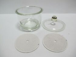 Pyrex 55/38 Vacuum Desiccator 7.5l With 2 Coors Porcelain Perforated Plates