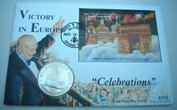 1995 Victory In Europe Celebrations Turks And Caicos Bunc 5 Crown Coin Cover Pnc