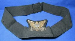 Wwii Coast Guard Officer Gold And Silver Bullion Hat Badge On Wool And Hat Band