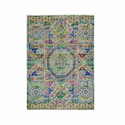 5and039x7and039 Colorful Sari Silk Mamluk Design Hand Knotted Oriental Rug R59728