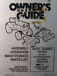 Mtd 140-990a Farm King 16hp Hydrostatic Lawn Garden Tractor Owner And Parts Manual