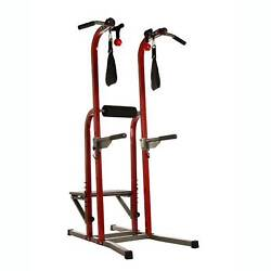 Stamina X Fortress Power Tower Home Gym Pull Up Fitness Workout Station, Red