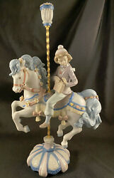 Mint Lladro 5732 Carousel Canter Girl Horse 16-1/2 Tall Figurine -- Signed