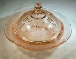 Hazel Atlas Glass Co. Royal Lace Pink 6 Diameter Butter Dish And Cover