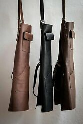 Elw Leather Apron For Bbq, Grill, Kitchen, Barber, Adjustable Size M To 2xl