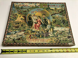 Rare Antique French Map And Natural History Game Loto Des 5 Parties Du Monde