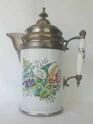 19th Century Pewter And Floral Graniteware / Enamelware Coffee Pot