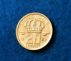 1963 Belgium 20 Centimes - Belgique - Low Mint - Awesome Coin - See Pictures