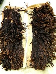 Antique Leather Cowboy Wooly Chaps