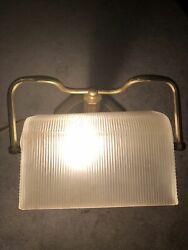 Vintage Bankers Desk Lamp Light With Clear Ribbed Glass Shade Brass Octagon Base