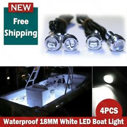 4x 18mm Waterproof Bright White Led Boat Light Deck Courtesy Bow Trailer Pontoon