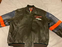 Vintage Denver Broncos Leather Jacket Coat W/ Embroidery By G-iii Carl Banks Xl