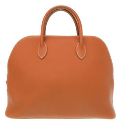 Authentic Hermes Web Hand Bag Gold Fjord 0020