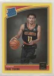 2018-19 Panini Donruss Rated Rookies Yellow Flood Trae Young 198 Rookie