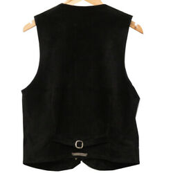 Auth Chrome Hearts Cross Ball Gilet Vest 8b/l Lngbest Black/silver Leather 0275