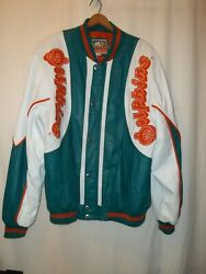 Vintage 80's Miami Dolphins Leather Jacket Carl Banks G Iii Sports Rare Size 2xt