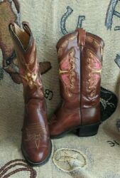 Awesome Vintage Butterfly Inlay Western Boots By Texas Boot Company Men's 10d