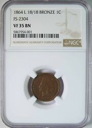 1864 L 18/18 Indian Head Cent Penny Snow S-5 Fs-2304 Variety Rpd Ngc Vf35