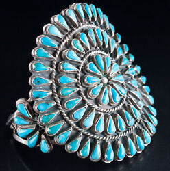 Vintage 1960's Sterling Silver Zuni Native American Turquoise Cuff Bracelet
