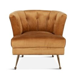32 W Potter Armchair Vintage Gold Velvet Seat With Black Leather Modern