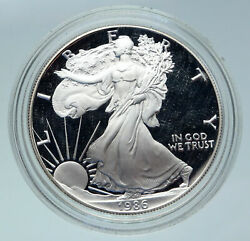 1986 United States Usa American Eagle And Liberty Proof Silver Dollar Coin I86425