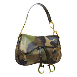 Christian Dior Camouflage Saddle Hand Bag Brown Khaki Coated Canvas Patent 34540
