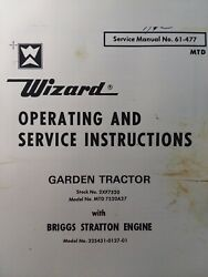 Wizard Western Auto 2xf7520 Mtd 7520a 1500 Garden Tractor Owner And Parts Manual