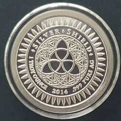 2014 1 Oz .999 Pure Silver Shield Proof New Year's Round Coin Coa Wastweet Sbss