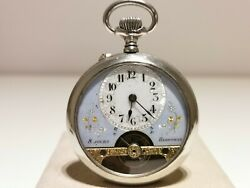 Antique Rare Beautiful Men's Pocket 8 Days Watch Hebdomas/blue And White Dial