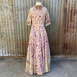 Vintage 1940s Colorful Indian Cotton Maxi Dress Paisley Print Puff Sleeves Belt